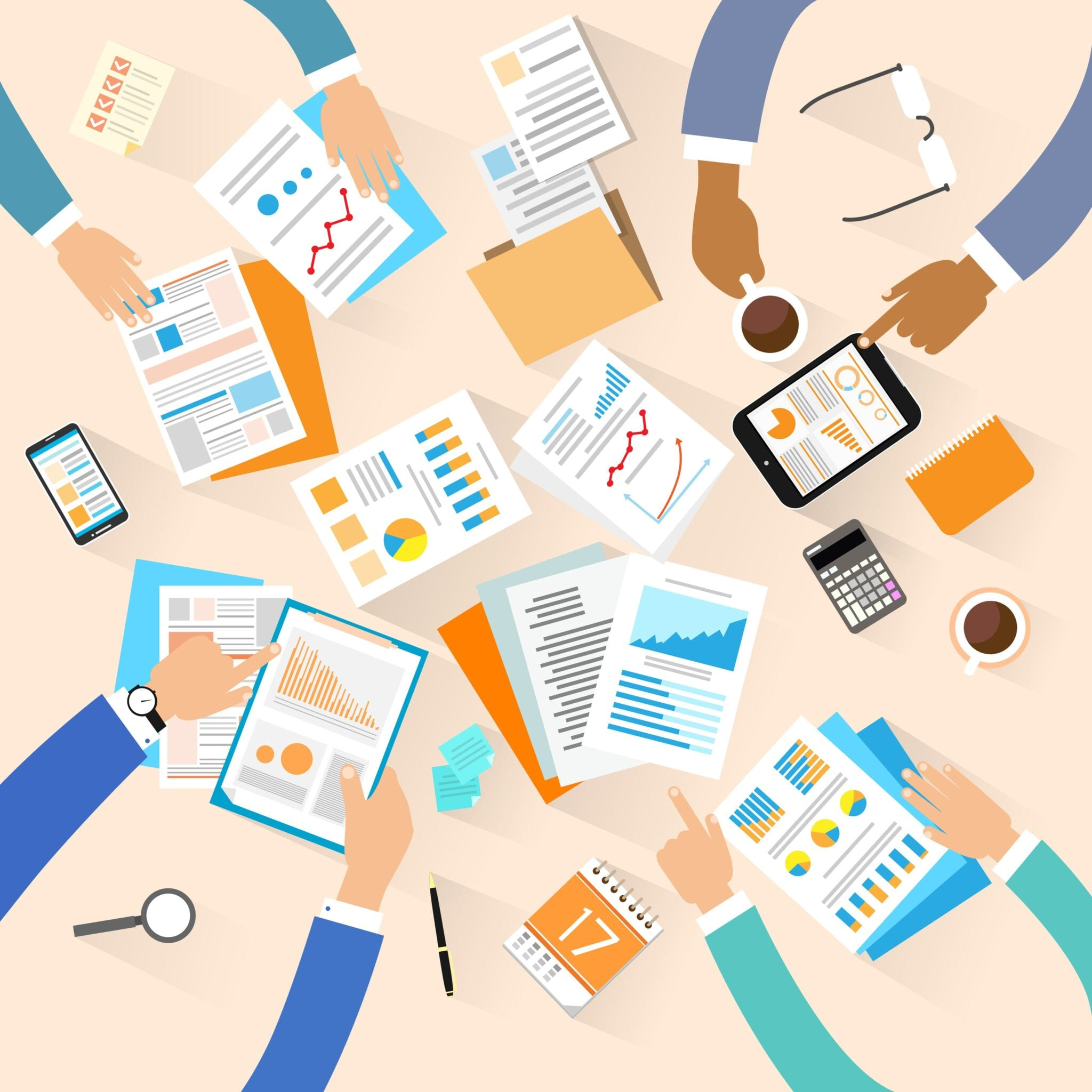 Business people workplace top angle above view creative team working sitting at office desk vector illustration flat design